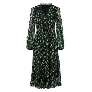 Marc Cain Leopard Lace Trim L/S Dress Woodruff