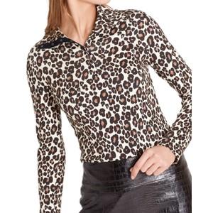 High Button Neck Leopard Top Dark Moro