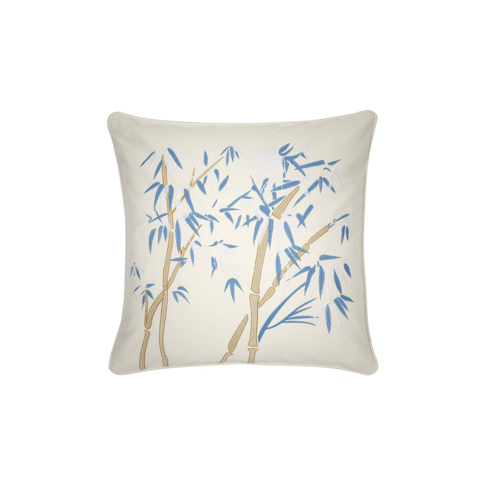 Elizabeth Scarlett Bambou Cushion -100% Cotton White