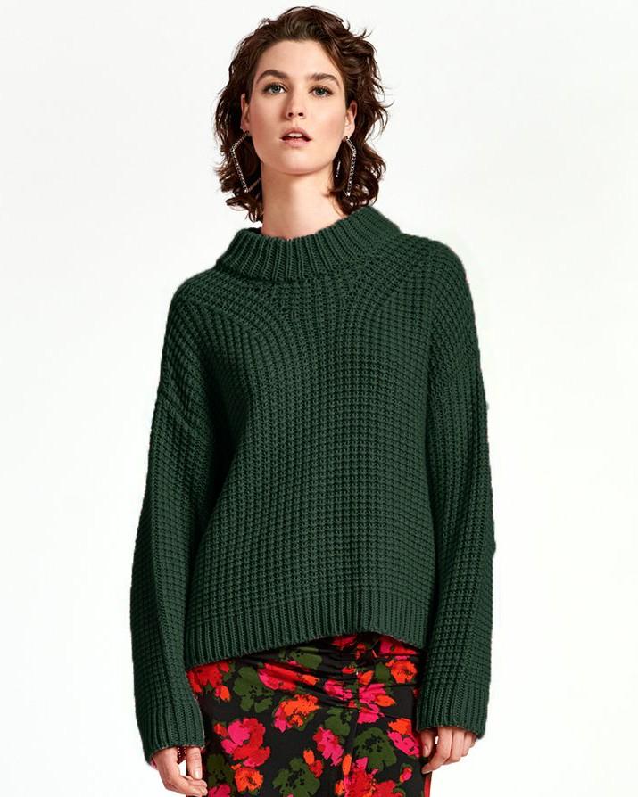 Essentiel Antwerp Wingle O/Size Chunky Knit Palace Green