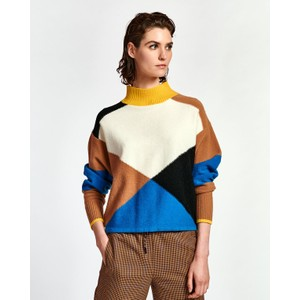 Wox Colour Block Sweater Persian Sky/Cream/Multi