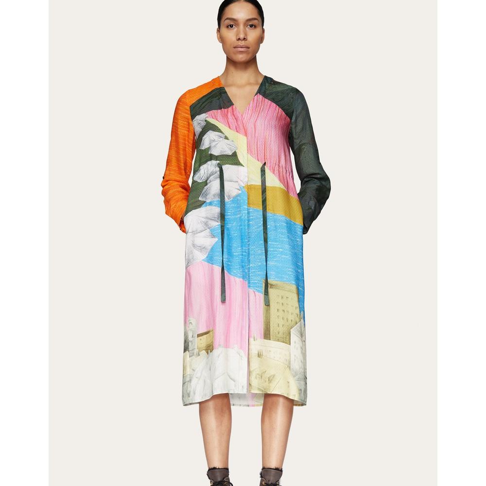 Stine Goya Camilla V-neck Shirt Dress Landscape/Multi
