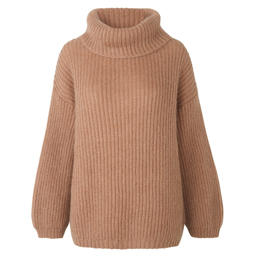 Levete Room Dixie Chunky Turtleneck Jumper Brown/Camel