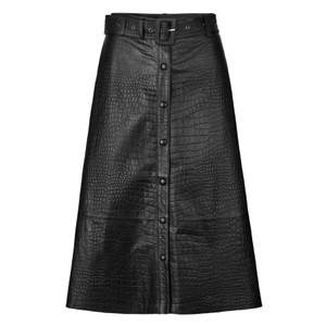 Kylie 2 Leather Snake Skirt Black