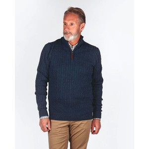 Cotton/Cashmere Cable 1/4 Zip Dark Denim