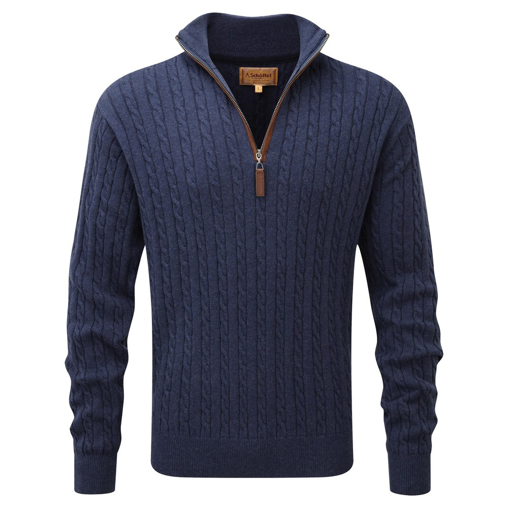 Schoffel Country Cotton/Cashmere Cable 1/4 Zip Indigo