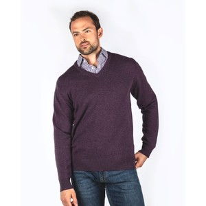 Lambswool V Neck Prune