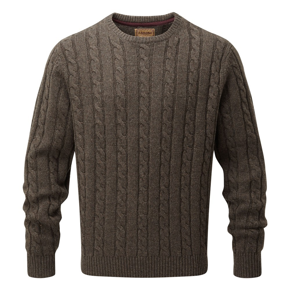 Schoffel Country Lambswool Chunky Cable Crew Mocha