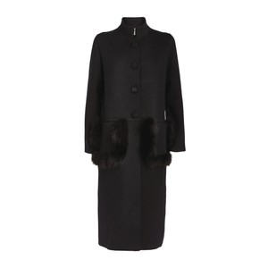 D Exterior Fur Trim Pockets Long Coat Black