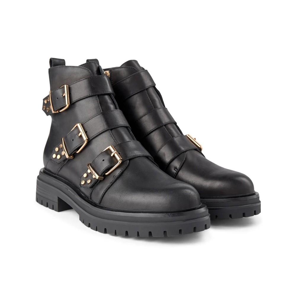 Shoe The Bear Franka Strappy Biker Boot Black