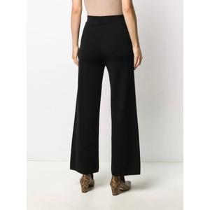 D Exterior Hi Wst Wide Leg Crop Trousers Black