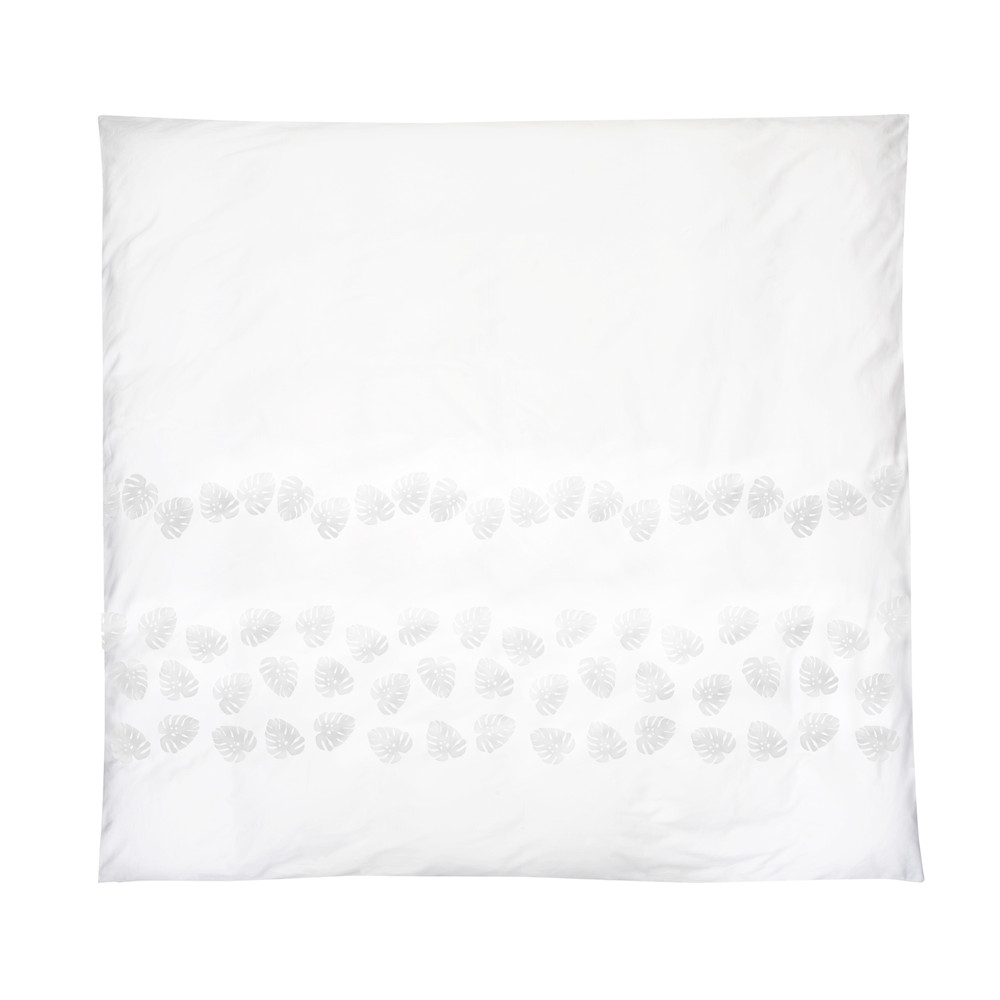 Elizabeth Scarlett Jungle Leaf Cotton Duvet Cover - Double White