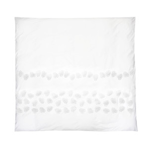 Jungle Leaf Cotton Duvet Cover - Double White