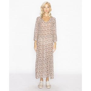 Jeff Shangai Print Long Dress Ecru/Multi