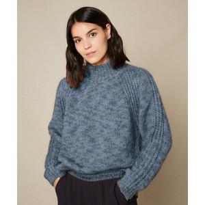 Myassa H/Neck Rib Trim Knit Blue Melange