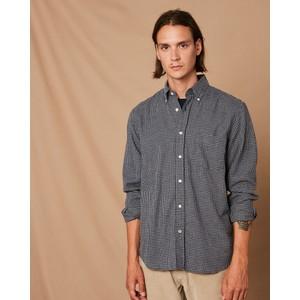 Penn Micro Check Cotton Shirt Blue/Navy
