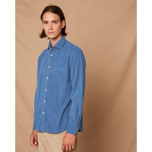 Hartford Paul Pat 1 Pkt Cotton Shirt in Dusty Blue