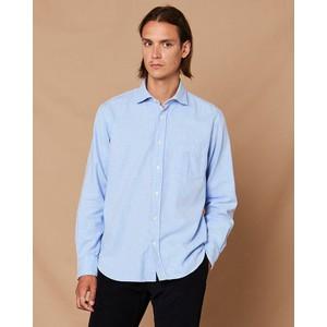 Hartford Pal 1 Pocket Cotton Shirt in Sky Blue