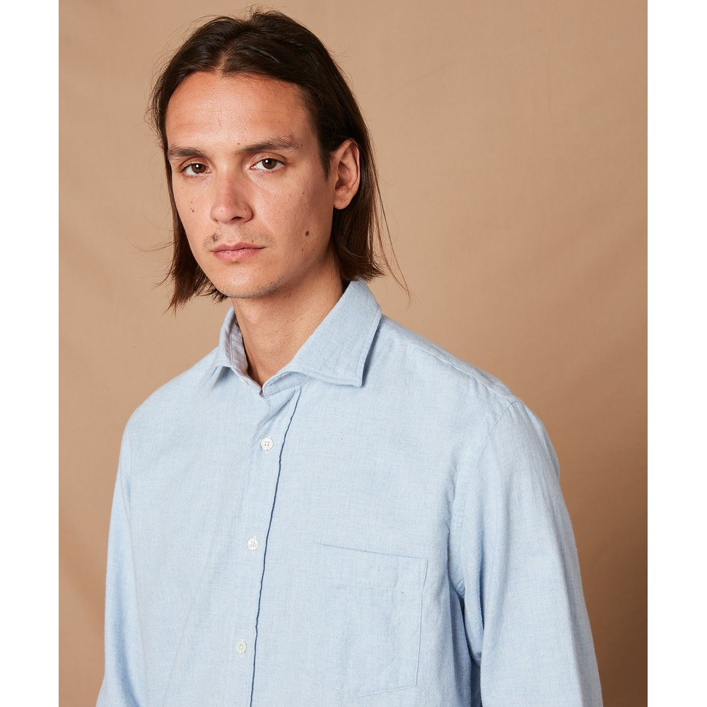 Hartford Pal 1 Pocket Cotton Shirt Sky Blue