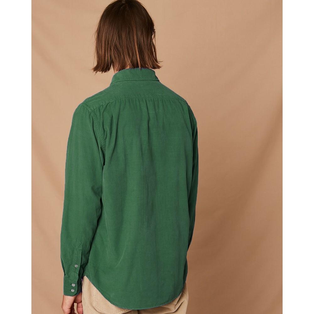 Hartford Paul Pat 1 Pkt Cotton Shirt Bottle Green