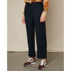 Hartford Perrine Crop Wide Trousers Navy