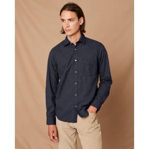 Hartford Pal 1 Pocket Cotton Shirt in Navy Melange