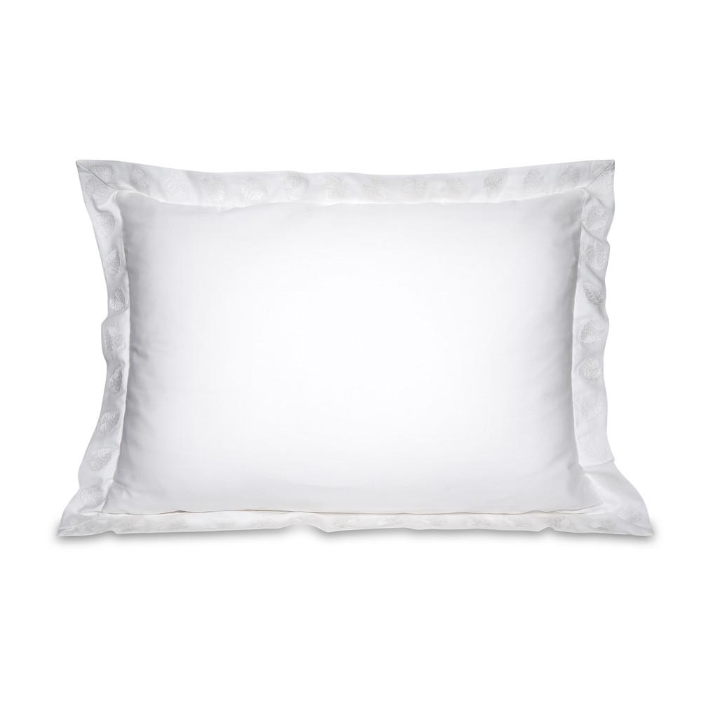 Elizabeth Scarlett Jungle Leaf Cotton Pillow Cases - 2 Pack White