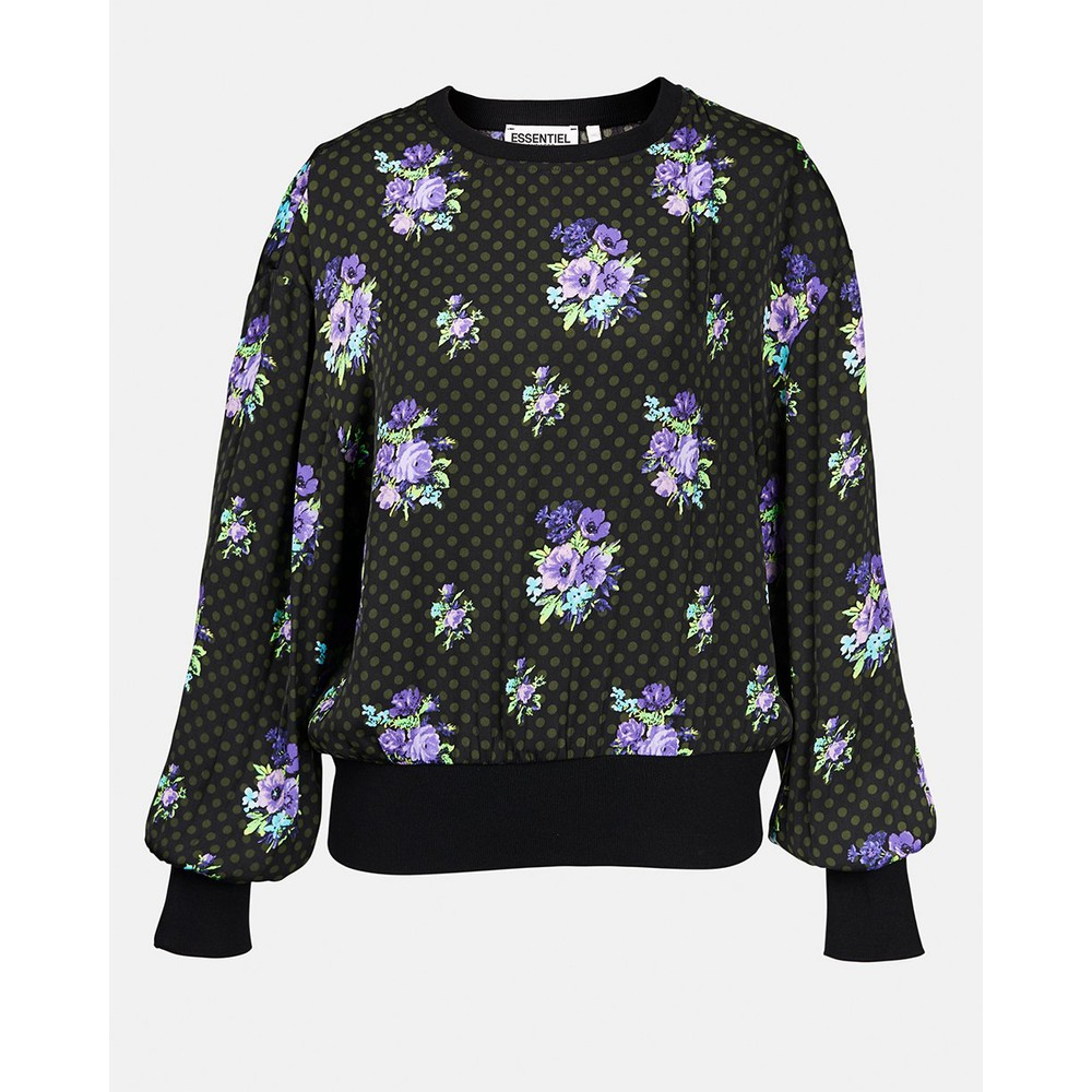 Essentiel Antwerp Wesp Floral Spot Top-Rib Trim Black/Purple
