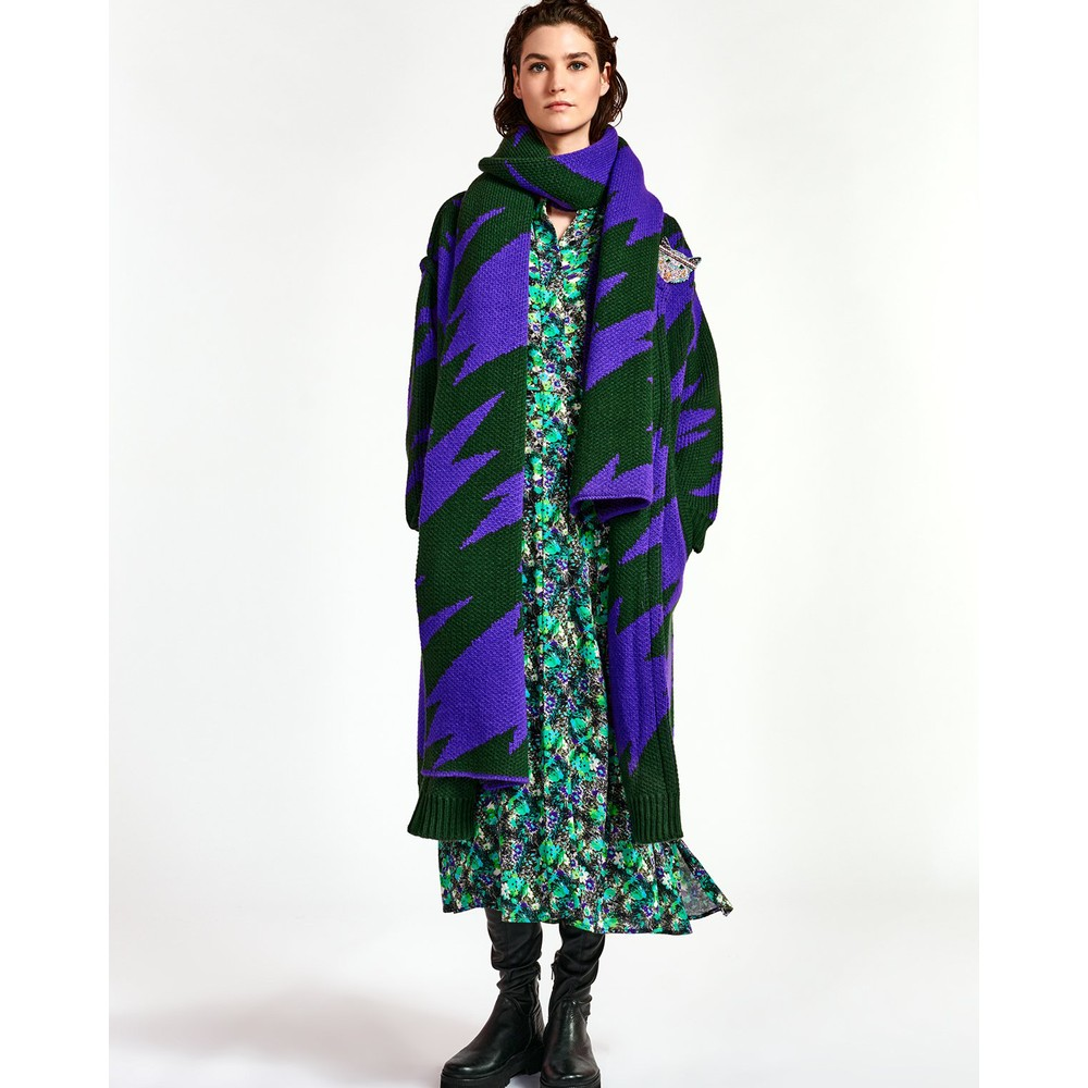 Essentiel Antwerp Wineglass Floral Long Dress Black/Green/Purple