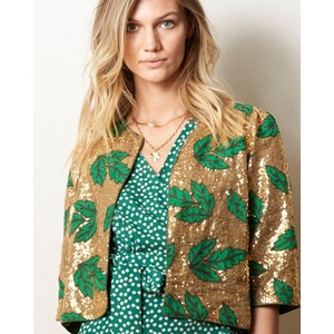 Lollys Laundry Trine Emb Sequins Jacket Gold/Green