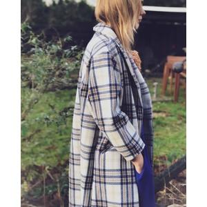 Lollys Laundry Billie Multi Check Coat Ecru/Navy/Brown