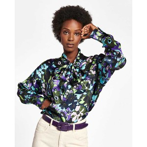Wichael Floral Tie Nk Top Polo Green/Multi