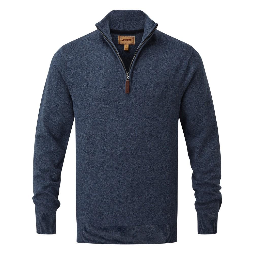 Schoffel Country Cotton Cashmere ¼ Zip Dark Denim
