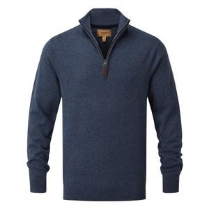Schoffel Country Cotton Cashmere ¼ Zip in Dark Denim