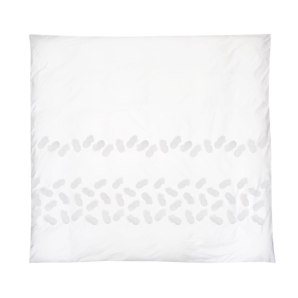 Elizabeth Scarlett Ananas Cotton Duvet Cover - Super King White