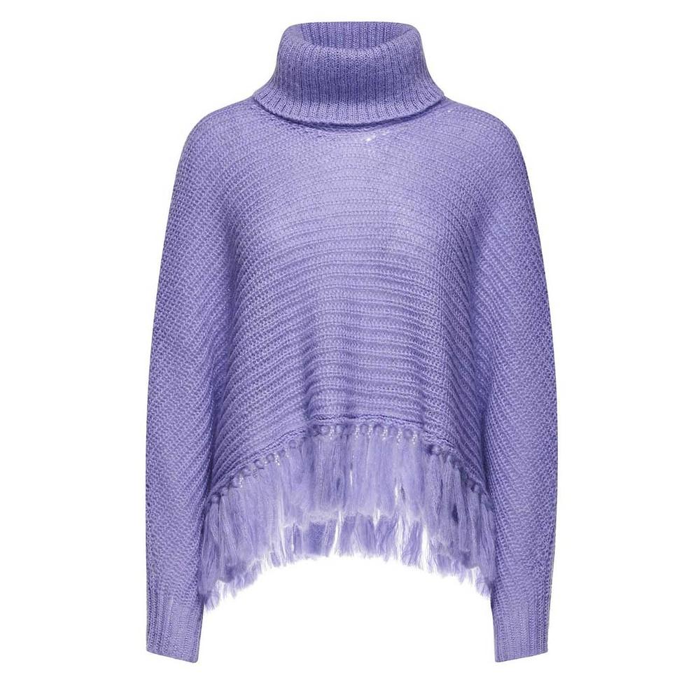 Sfizio Chunky Mohair Tassle Poncho Lilac