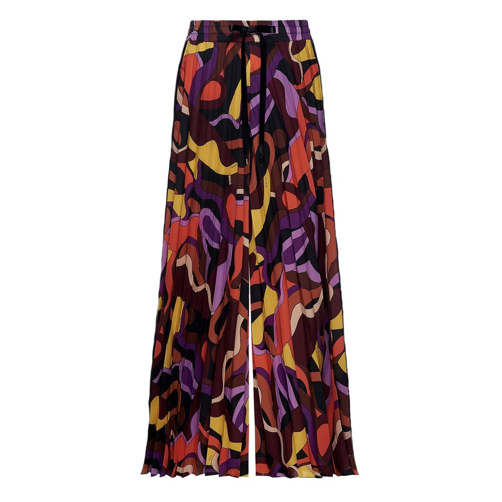 Sfizio Oro Pleated Pattern Wide Trs Purple/Multi