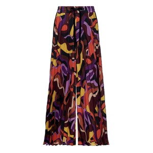 Oro Pleated Pattern Wide Trs Purple/Multi