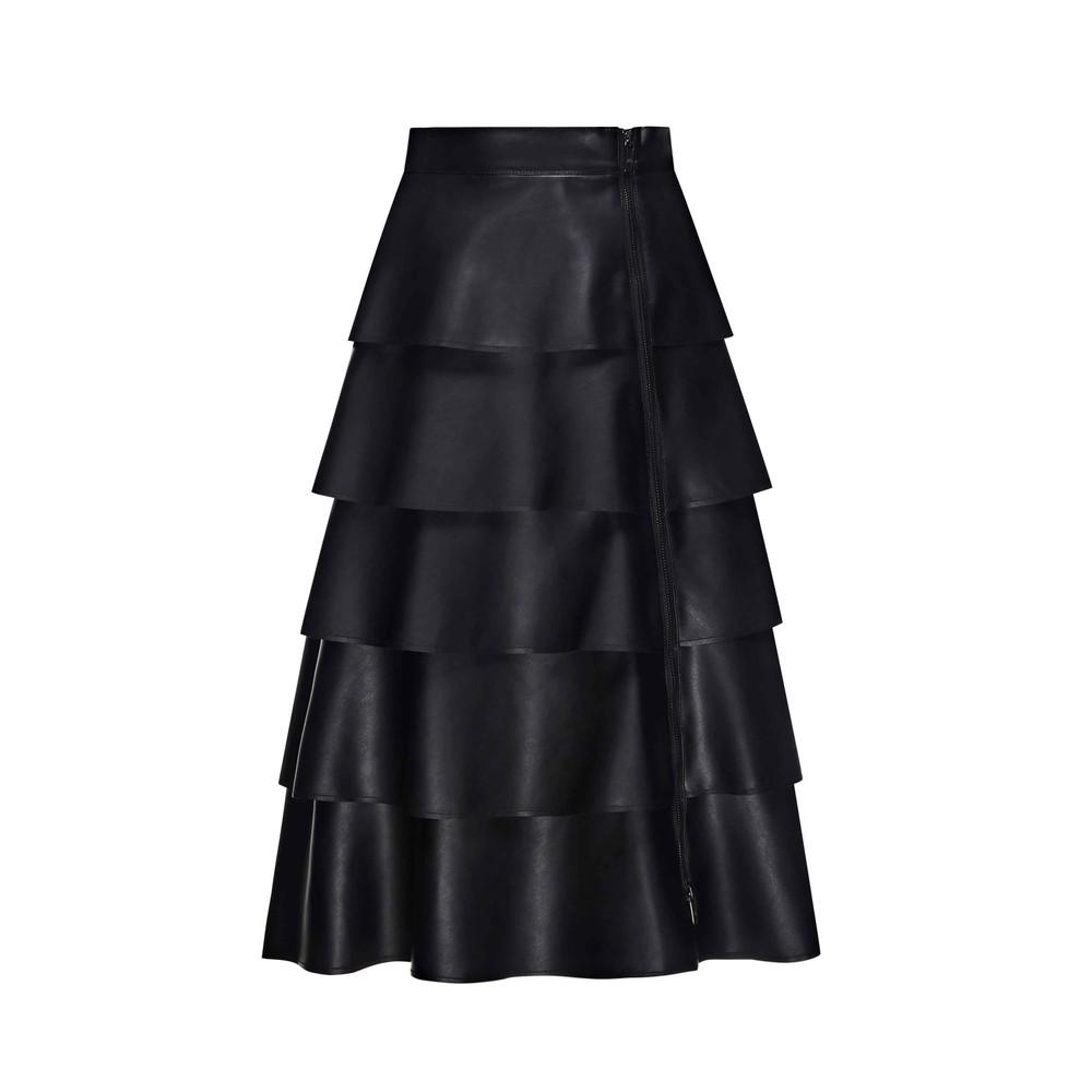 Sfizio Layered Faux Leather Skirt Black