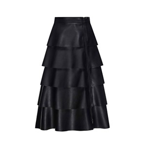 Layered Faux Leather Skirt Black