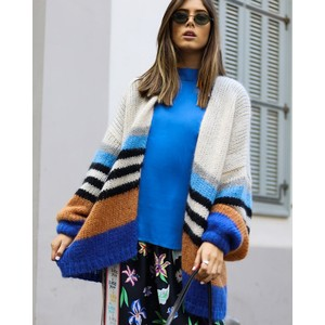 Luca Stripe Chunky Cardi Natural/Blue/Multi