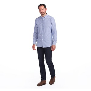 Barbour Tattersall 12 Check Tailored Fit Shirt Indigo