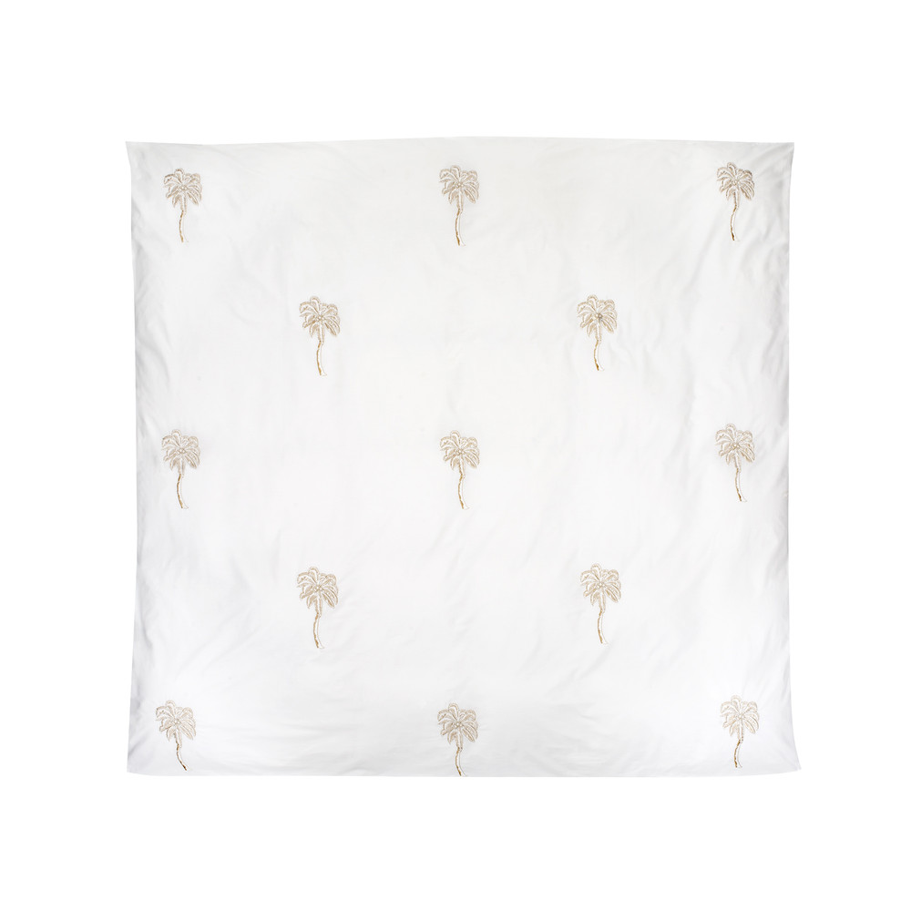Elizabeth Scarlett Palmier Cotton Duvet Cover - Double White