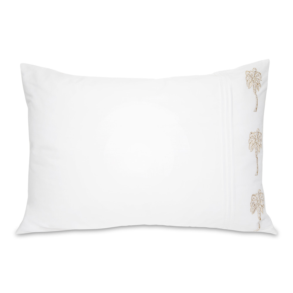 Elizabeth Scarlett Palmier Cotton Pillow Cases - 2 Pack White
