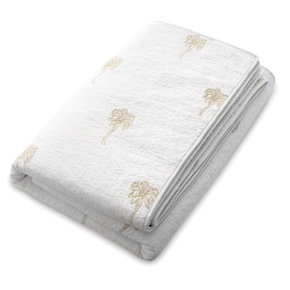 Elizabeth Scarlett Palmier 100% Cotton Quilt White