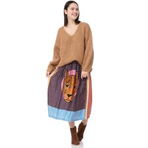 Hailey Cheetah Midi Skirt Purple/Multi