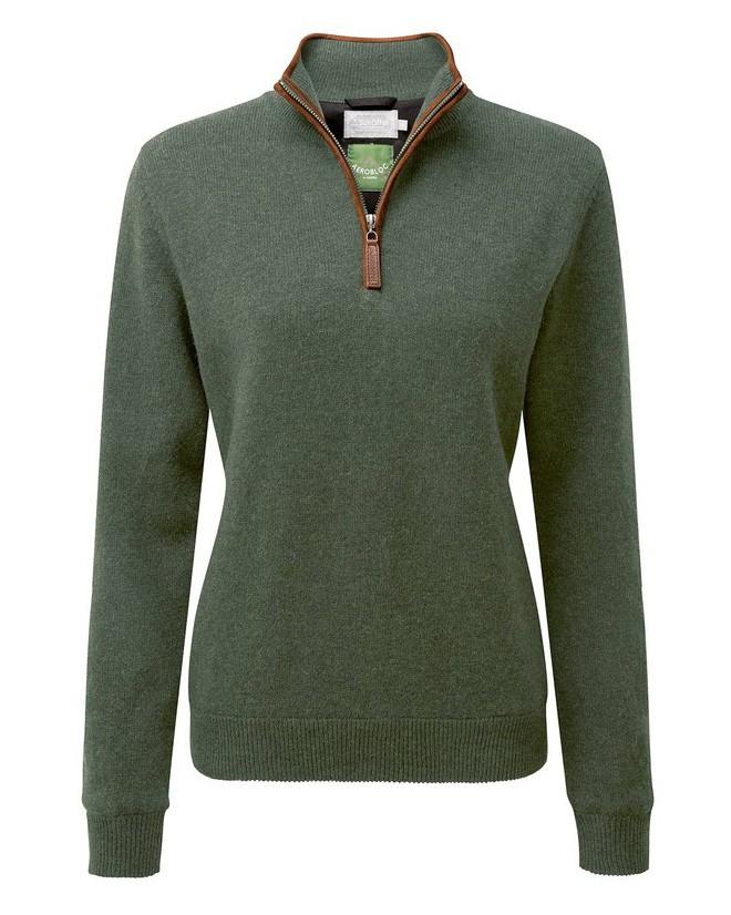 Schoffel Country Ladies L/Wool Aerobloc 1/4 Zip Cedar Green