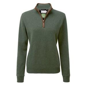 Ladies L/Wool Aerobloc 1/4 Zip Cedar Green
