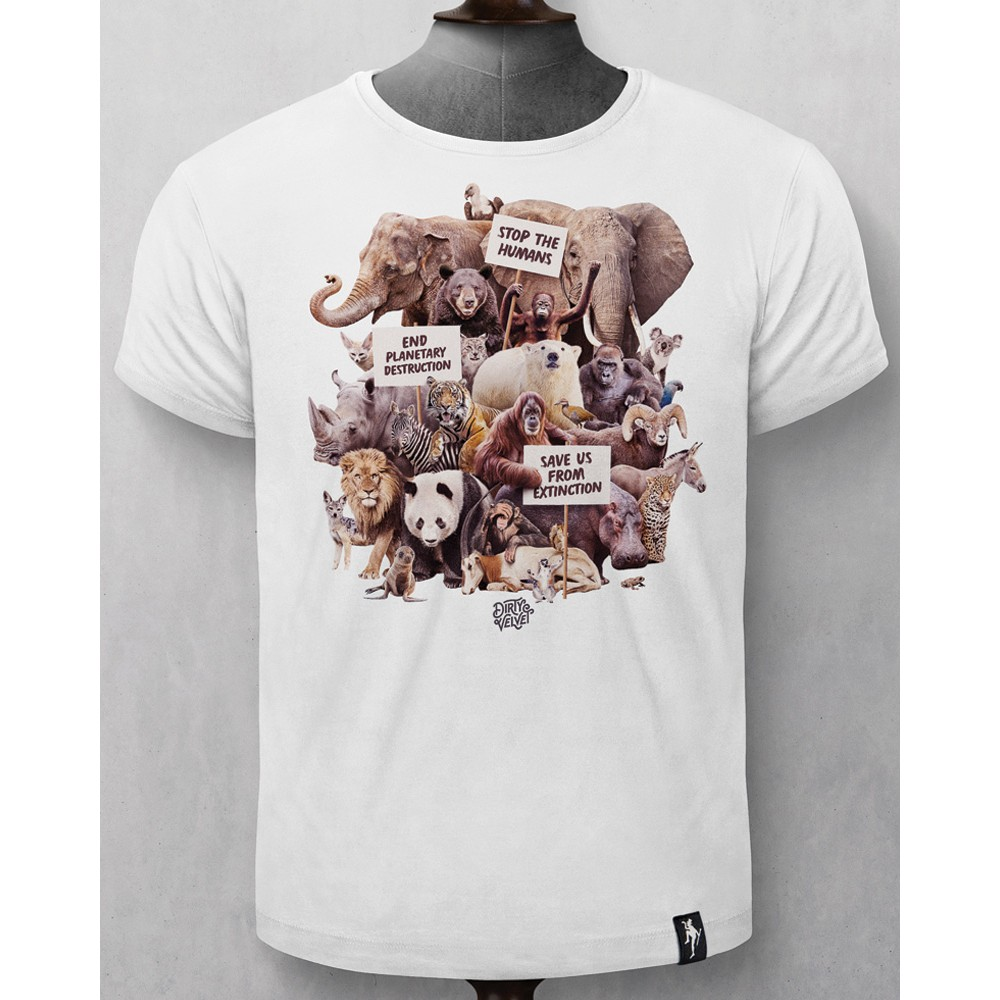 Dirty Velvet Animal Activists T-Shirt White