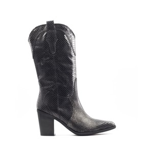 Viola Croc Cowboy Boot Black/Gold